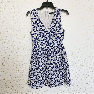 Navy and White Flower Fit and Flare Dress